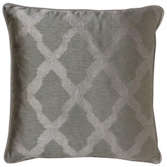 Brabbu Morocco Pillow in Gray Linen with Tile Pattern