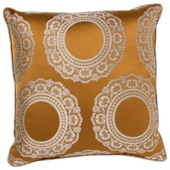 Brabbu Versailles Pillow in Yellow Linen with Doily Pattern