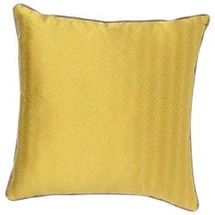 Brabbu Metropolis Pillow in Yellow Linen with Silver Trim