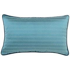 Brabbu Metropolis Pillow in Blue Linen with Geometric Pattern