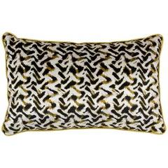 Brabbu Albus Pillow in Yellow Velvet with Gold Trim