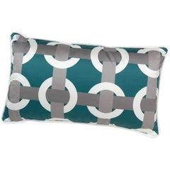 Brabbu Bowline Pillow in Blue Satin with Geometric Pattern