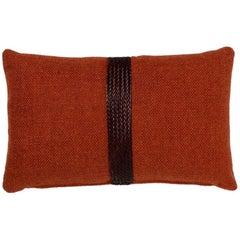 Brabbu Chraft Pillow in Burnt Orange Twill with Braided Detail