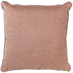 Brabbu Antrim Pillow in Red Twill with Silver Stitching