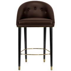 Brabbu Malay Counter Stool in Chocolate Velvet with Brass Details