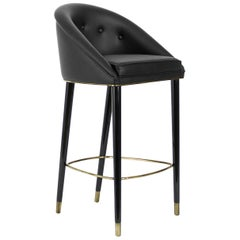 Brabbu Malay Bar Chair in Faux Leather with Aged Brass Details