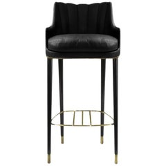 Brabbu Plum Bar Chair in Black Leather with Brass Details