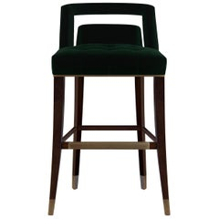 Brabbu Naj Counter Stool in Emerald Velvet with Matte Finishing