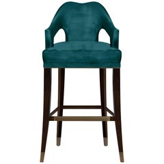 Brabbu Nº 20 Counter Stool in Teal Velvet with Brass Details