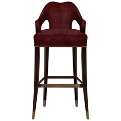 Brabbu Nº 20 Bar Chair in Burgundy Velvet with Brass Details