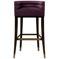 Brabbu Maa Bar Chair in Violet Twill with Brass Details