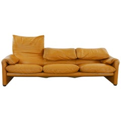 Cassina Maralunga Three-Seat Sofa in Cognac Leather by Vico Magistretti, 1972