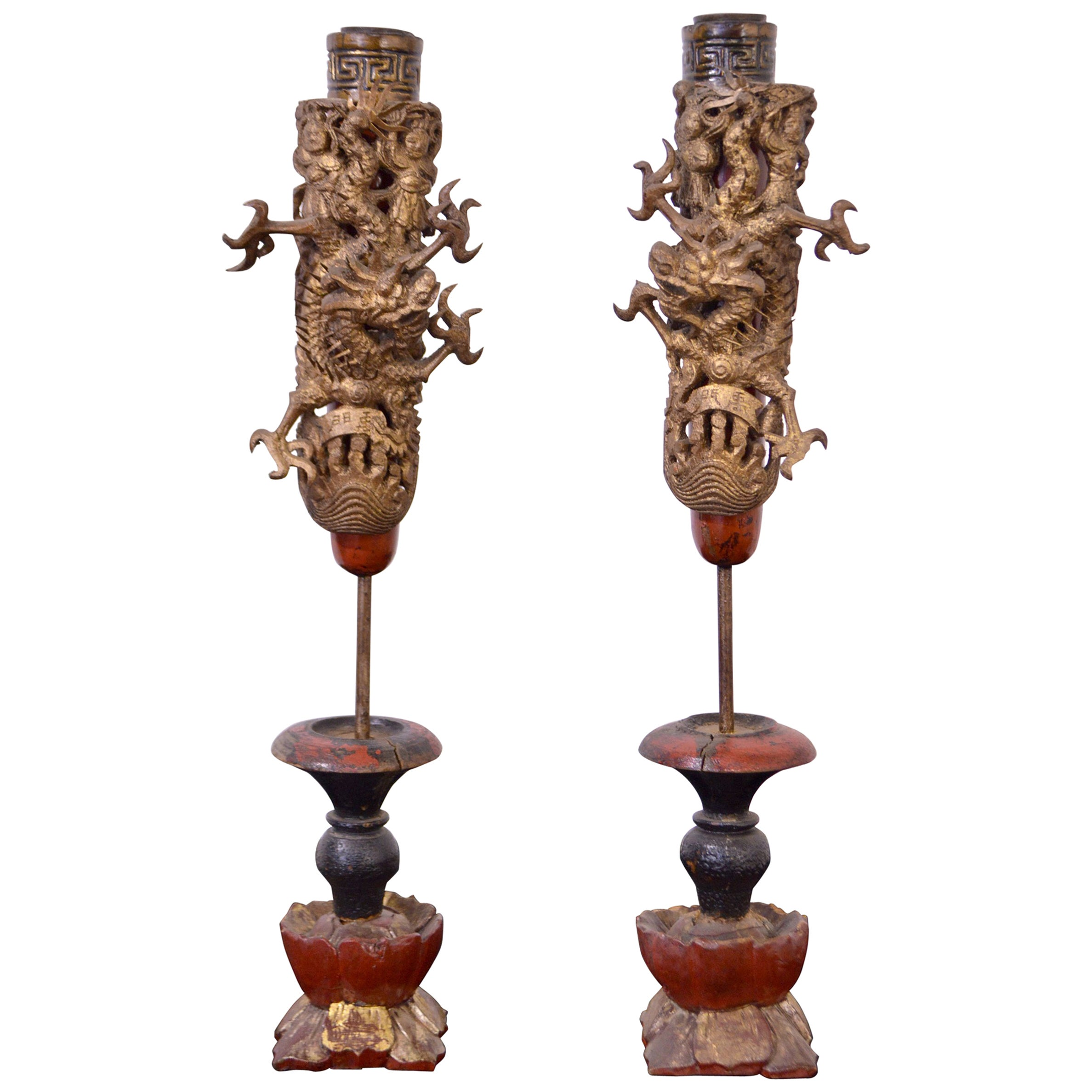 19th Century Wooden Candleholders