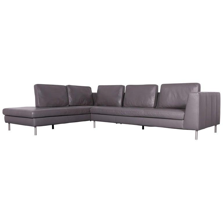 Willi Schillig Designer Leather Sofa Grey Corner-Couch