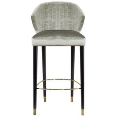 Brabbu Nuka Counter Stool in Silver Velvet with Gold Details