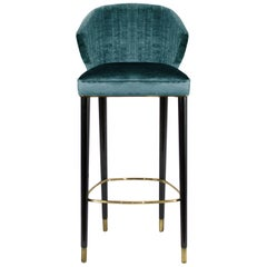 Brabbu Nuka Bar Chair in Teal Velvet with Gold Details