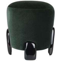 Brabbu Noaki Stool in Emerald Velvet with Black Lacquer Base