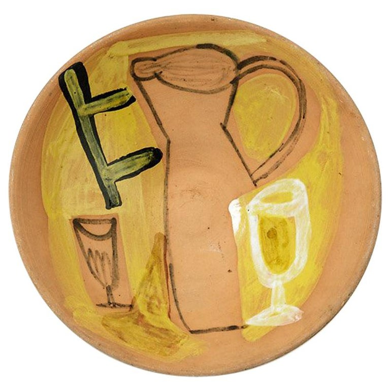 Decorative Ceramic Plate by Jacques Innocenti Vallauris, 1950