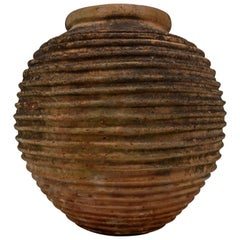 Antique 'The King' Terracota Ribbed Olive Jar with Dark Lichen Patination