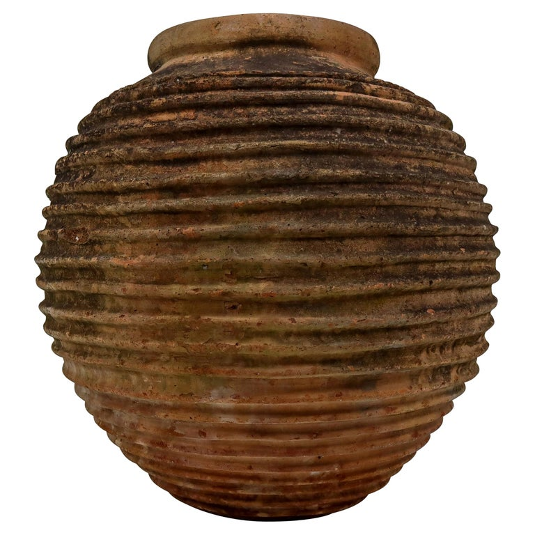 Giant Antique Terracotta Ribbed Olive Jar with Dark Lichen Patination For Sale