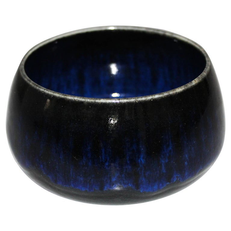 Midcentury Blue Ceramic Bowl by Gunnar Nylund for Rörstrand
