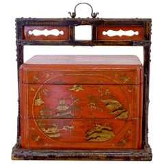 Mid-19th Century Red Lacquered Lunchbox