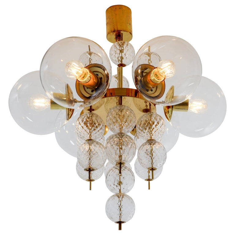 Midcentury Chandeliers with Brass Fixture and Hand-Blown Glass, Europe 1970s