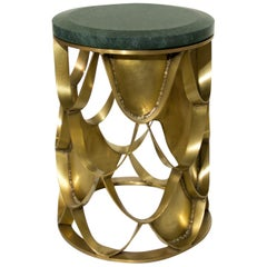 Brabbu Koi Side Table in Brass with Green Marble Top
