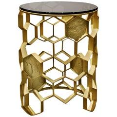 Brabbu Manuka Side Table in Brass with Glass Top