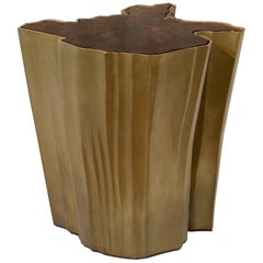 Brabbu Sequoia Big Side Table in Wood with Brass Base