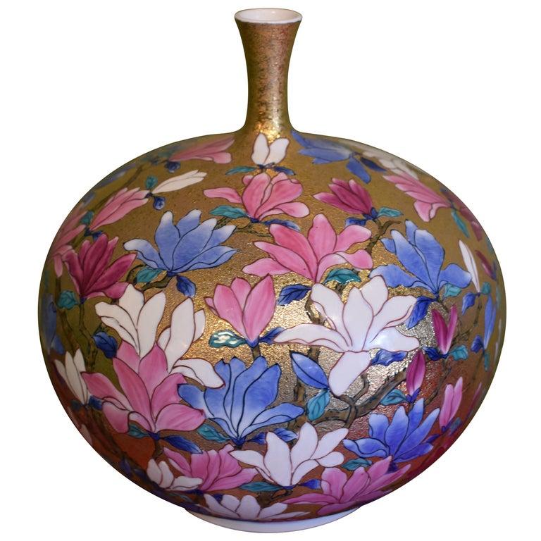Japanese Imari Gilded Hand-Paint Porcelain Vase by Master Artist, 2018