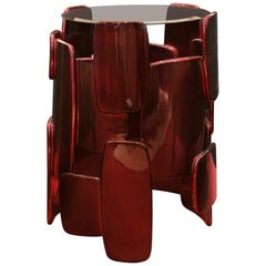 Brabbu Goroka Side Table in Silver Leaf with Red and Black Gloss