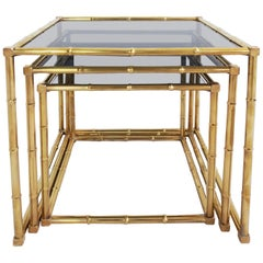 Set of Three French Nesting Table in Casting Bamboo Brass
