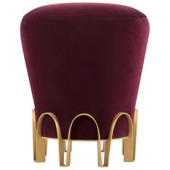 Brabbu Nui Stool in Mulberry Velvet with Brass Base