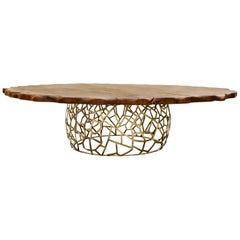 Brabbu Apis II Dining Table in Brass with Large Wood Top