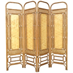 Midcentury Rattan Room Divider or Screen Four-Fold Screen, Split Bamboo
