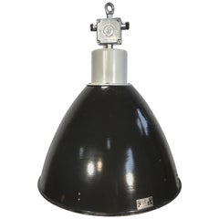 Large Vintage Industrial Black Enamel Factory Lamp, 1960s
