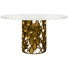 Brabbu Koi Dining Table in Brass with Round Acrylic Top