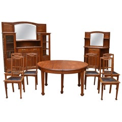 Art Nouveau Oak Carved Dining Room Set on the Theme of Vine, circa 1910
