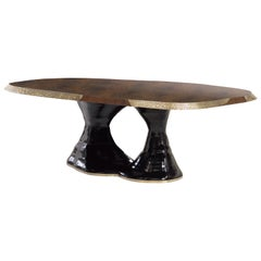 Brabbu Plateau Dining Table with Walnut Tabletop and Lacquer Base