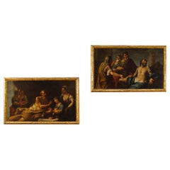 Pair of Venetian Paintings Mythological Scenes Oil on Canvas from 18th Century