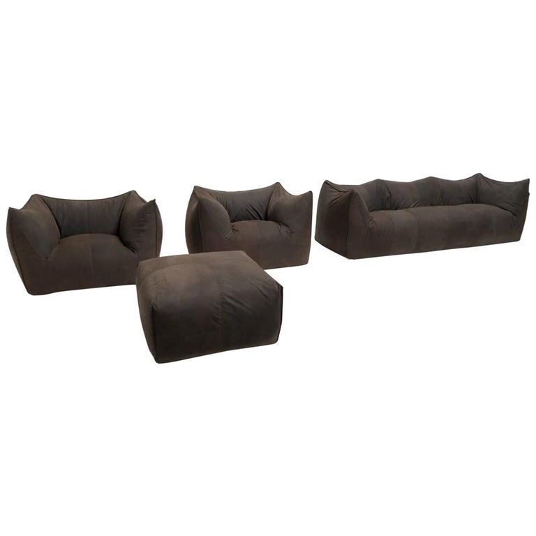 Leather 'Bambole' Living Room Set by Mario Bellini, 1972, Original Period Labels For Sale