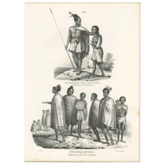 Antique Print of Natives of Hua-Hua and New Zealand by Honegger '1836'