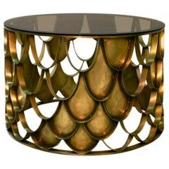 Brabbu Koi Center Table in Brass with Glass Top