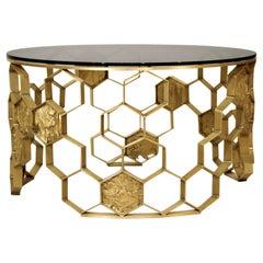 Brabbu Manuka Center Table in Brass with Bronze Glass Top