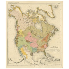 Antique Map of American Indians by J.W. Powell, 1890