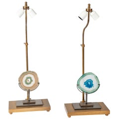 Pair of 1970s Bronze and Agates Lamps in the Style of Willy Daro