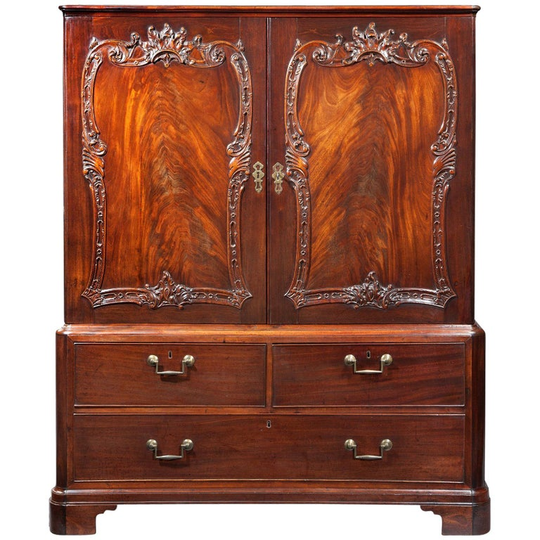Georgian Chippendale Cabinet with Rococo Carving