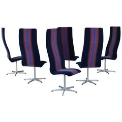 Arne Jacobsen for Fritz Hansen Oxford Dining Chairs in Mohair
