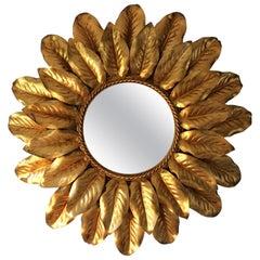 French Gilt Sunburst Mirror with Backlight, circa 1950s